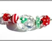 Christmas Bead Set (7) Lampwork Beads -SRA