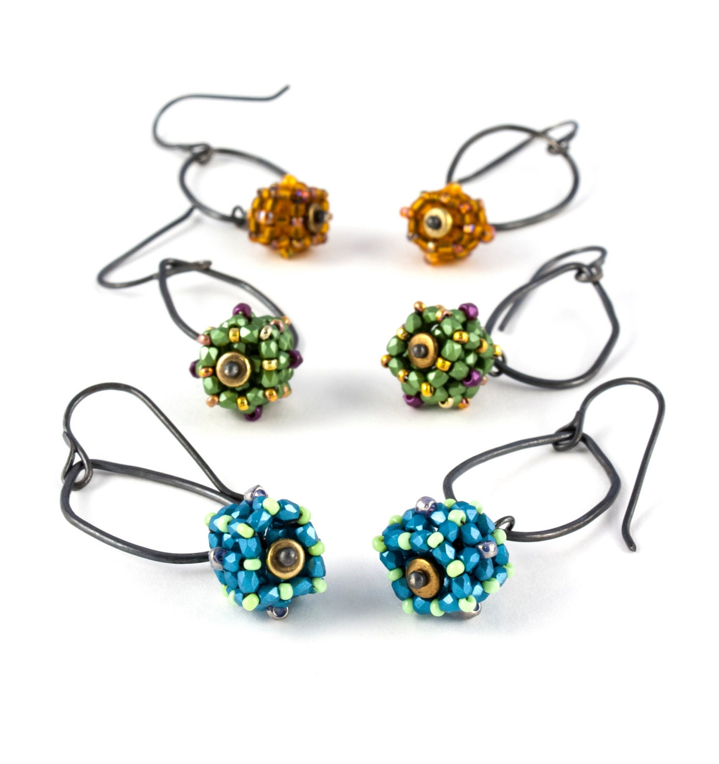 wire earrings with beaded bead