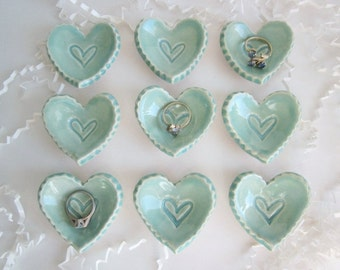 Birthday favor, wedding favor, bridal shower favor, ring holder,  ceramic storage heart dishes