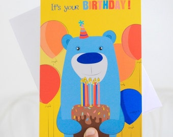 Boy birthday cards - Bear birthday card -  illustrated card - kids birthday cards - handmade card - Blank card - Yellow greeting card