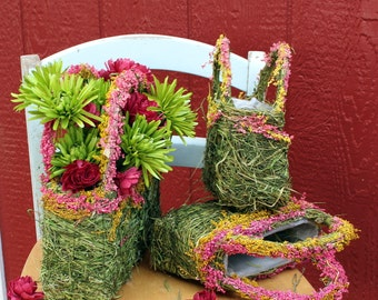 SALE: Grass Purse set of 3-Spring Green Grass & dried flowers-Pink gyp-Green-gyp-purse planters-Flowers NOT included