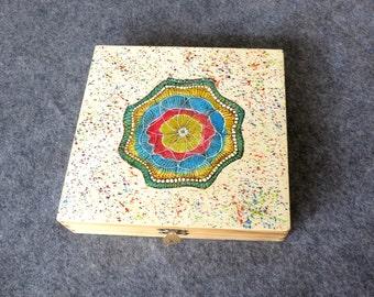 Woodburned Mandala Yoga Text  Box Pyrography