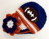 Boy Girl Twins Chicago Bears Baby Beanie Set Football Team Beanie photo prop crochet beanie (choose team)
