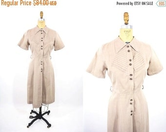 SUMMERS END SALE // 1950s dress vintage 50s taupe pleated bodice rhinestone button shirt dress M