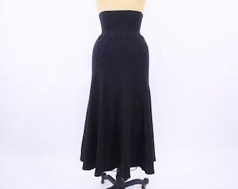 "1980s cotton skirt | solid black high waist stretchy skirt | vintage 80s skirt | W 22""+"