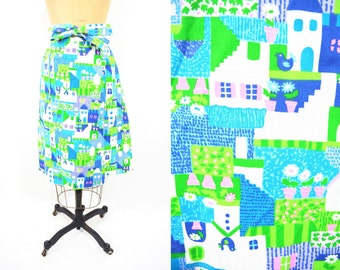 "1970s wrap skirt | Malia house novelty print a line skirt | vintage 70s skirt | W 26"""