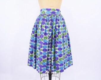 1950s skirt vintage 50s owl novelty print purple green blue full skirt XS
