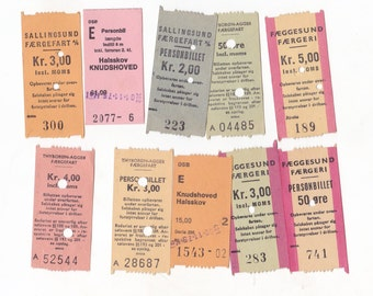 Pack of 10 Vintage Denmark Transport Tickets | 1970's Ephemera for Crafting or Collecting