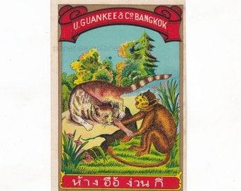Vintage Thai Fabric Dye Bottle Label by U. Guan Kee & Co Bangkok   Monkey and Lion Ilustration   Antique Label