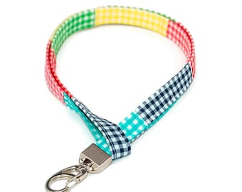 Gingham Madras Fabric Lanyard - Preppy ID Badge Holder - Plaid Name Tag - Student Name Tag