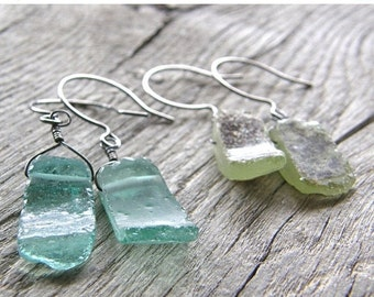 Summer Sale Antique Roman Glass Earrings, Recycled Old Aqua and Green Glass Earrings