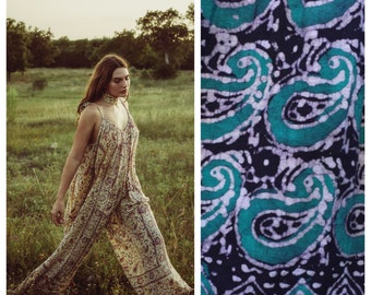 INDIAN cotton jumpsuit in Teal Paisley vintage gauze hippie dress