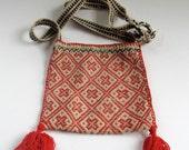 Gorgeous Vintage Handwoven Bag, Open Top, Bolivian, Patterned, Wool, Backstrap Weaving,  Ethnic Bag, Purse, Pouch, BoHo