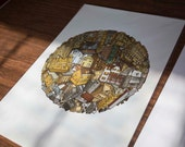Building Ball Illustration, Abstract City, Color Illustration, 13x19 Color Illustration