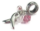 Ribbon Charm European Bracelets Sterling Silver Breast Cancer Diabetes Lupus Alzheimers Ovarian