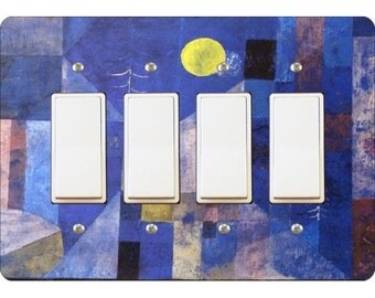 Paul Klee Moonlight Painting Quadruple Decora Rocker Light Switch Plate Cover