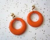 Orange Hoop Earrings - Vintage Inspired Earrings - 40s 50s - Post Earrings - Small