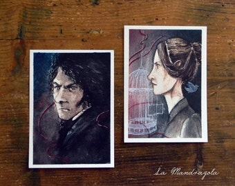 Jane Eyre and Edward Rochester Postcard. Print watercolor red and black illustration from the novel Jane Eyre by Charlotte Brontë