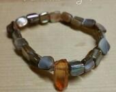 ON SALE Freshwater Pearls, Pearl Bracelet, Tangerine Quartz Crystal, Ocean Bracelet, Shell Bracelet