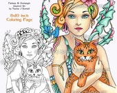 Ginger & Alec Fairy Tangles Printable Coloring Sheets and Coloring book Pages by Norma J Burnell Fairies Cats Printable coloring book pages