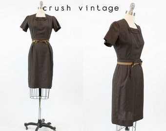 50s Wiggle Dress XS / 1950s Vintage Chocolate Brown Cotton Dress / Coco Day Dress