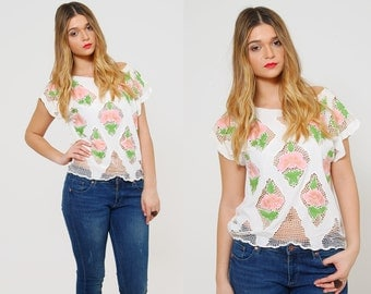 Vintage 80s FLORAL Mesh Top OPEN WEAVE Top Embroidered Bali Top White Summer Top