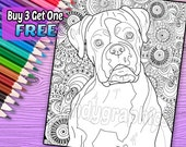 Boxer - Adult Coloring Book Page - Printable Instant Download