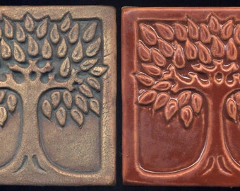 "Pair of Art Tiles  -  Decorative Tree Tiles 4"" Square  -  Two Tile Set"