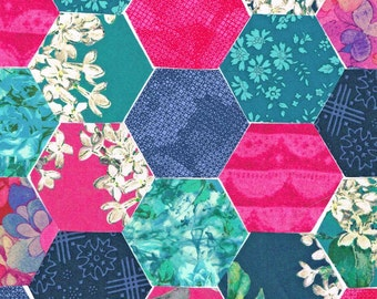 60 Liberty Fabric Hexagons 1 1/4″ Sides Hot Pink Blue Selection 1023
