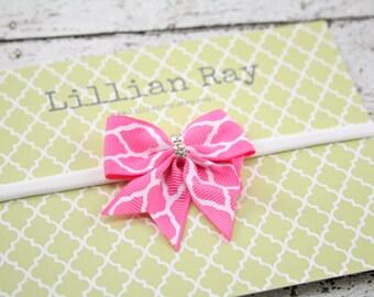 Quatrefoil Pink Bow Nylon Headband