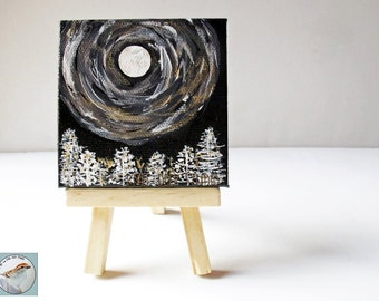 Moon and Trees Miniature Fine Art Painting on Canvas 3x3 Tiny Art with Easel Gift Under 40 Midnight Moonshine Mystical Mini Art