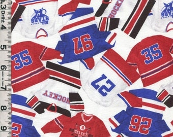 Fabric Northcott Power Play collection Hockey Players Jerseys collage on white