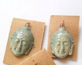 2 pcs, Small Buddha Raku Fired Clay Charm or Bead Findings Pair in Soft Green Blue