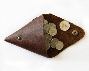 Triangle Coin Purse; Leather Coin Purse; Coin Purse; Double Coin Purse; Brown