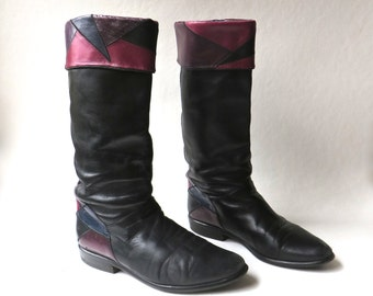 80s vintage Black Leather Slouchy Riding Boots with Colorful Patchwork Cuffs and Heels