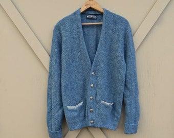 70s vintage Puritan Blue Woolen Cardigan Sweater