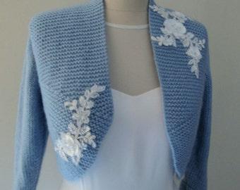 Blue Bridal Bolero, Blue Wedding Shrug, Wedding Sweater, Bridal Jacket, Blue Wool Sweater, Wedding Knit Sweater, Wedding Hand Knit Bolero