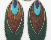 Enamel Earring Findings - Feather Pendants - Peacock Earring Findings - DIY Jewelry - Antique Gold - Earring Component - DIY Earrings