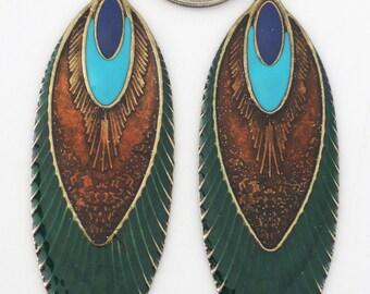 Enamel Earring Findings - Feather Pendants - Peacock Earring Findings - DIY Jewelry - Antique Gold - Earring Component - DIY Earrings