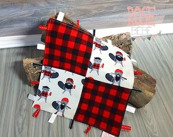 Doudou étiquettes  patchwork castors bucherons