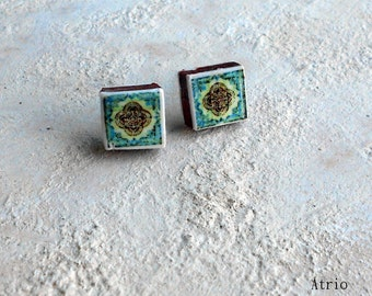 Portugal Antique Azulejo Tile Replica Post Stud Earrings from Ovar (see photo of actual facade) Geometric