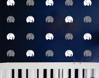 Elephant wall decal - contemporary - set of 50 - Zoo Circus Animal Elephant wall decal - Elephant - baby boy nursery wall decals - elephants