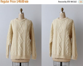 On SALE Pullover Fisherman Sweater / British Wool Naturally/ Aran Knit Sweater / Cream / Unisex Size