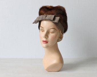 1940s Hat / Mink Hat / Saks Fifth Avenue