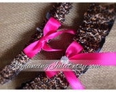 Skirted Satin Bridal Garter SET Rhinestone Accents....You Choose The Colors..Shown in cheetah/hot pink