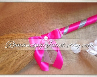 Classic Jump Broom Made in Your Custom Colors with Rhinestone Accent ..shown in dark fuchsia pink/silver gray