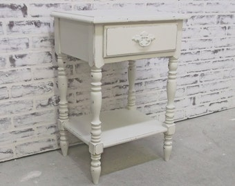 Nightstand / End Table, Distressed White Cottage Style- NS901 Chippy Farmhouse Style