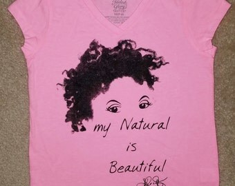 "Kids Natural Hair T-Shirt/ Pink T Shirt/ Pink ""My Natural is Beautiful"" T-Shirt/ Child  Natural hair  T-Shirt"