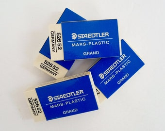 """RESERVED FOR JOVAN Staedtler Mars Erasers Set of 4 - White Plastic Grand - Large Size 1.5"""" x 3"""" For Paper and Film, Germany"""
