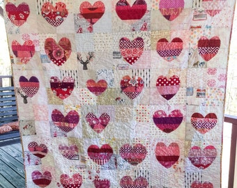 Hand Cut Heart Quilt, You choose Size and color palette